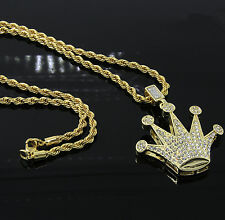 "Mens Gold Plated Iced Dome Crown Hip-Hop Pendant 24"" Rope Chain Necklace D457"