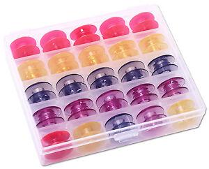 25 bunte Spulen für Pfaff in praktischer Box für Maschinengruppe J  #7809