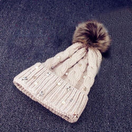 Damen Faux Fur Beanie Winter Baumwoll Häkeln Gestrickt Ski Hute Caps Strickmütze