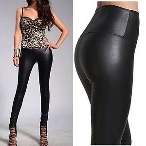 44e7b5a9be5c75 High Waist Leggings Mat Wet Look Latex Faux Imitation Leather Full ...