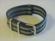 Black/Grey 007 BOND G10 20mm Military strap fits TIMEX Weekender + ZULU Watch