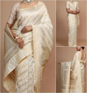 Elegant-White-Silk-Saree-Jacquard-Gold-Thread-Work-Indian-Ethnic-Partywear-Sari