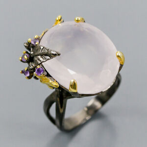 Rose Quartz Ring Silver 925 Sterling IF 21x16 mm Light Pink Size 7.75 /R140642