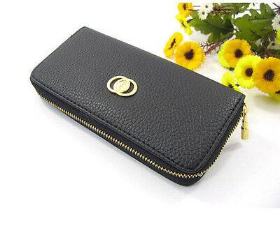 New Women Fashion PU Leather Wallet Zip Around Case Purse Lady Long Handbag Bag