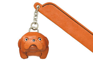 Bulldog Leather dog Charm Bookmarker *VANCA* Made in Japan #61713
