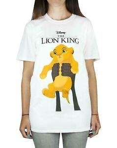 Disney-Lion-King-Simba-Cub-Circle-Of-Life-Women-039-s-Boyfriend-Fit-White-T-Shirt