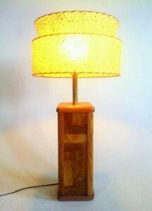 vintage retro danish modern atomic sputnik table lamp light wood teak hardwood. Black Bedroom Furniture Sets. Home Design Ideas
