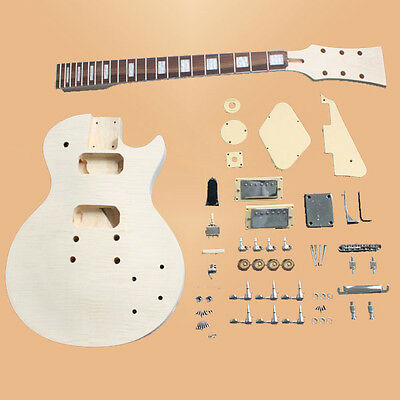 DIY Electric Guitar Kit Flamed Maple Veneer Top Basswood Guitar Luthier Project