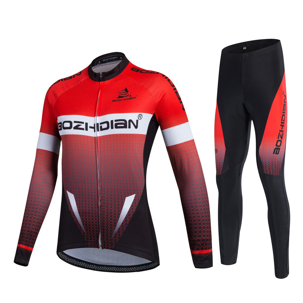 Men's Cycling Clothing Long Sleeve Jersey and Padded Cycle  Long Pants Kit Red  save 50%-75%off