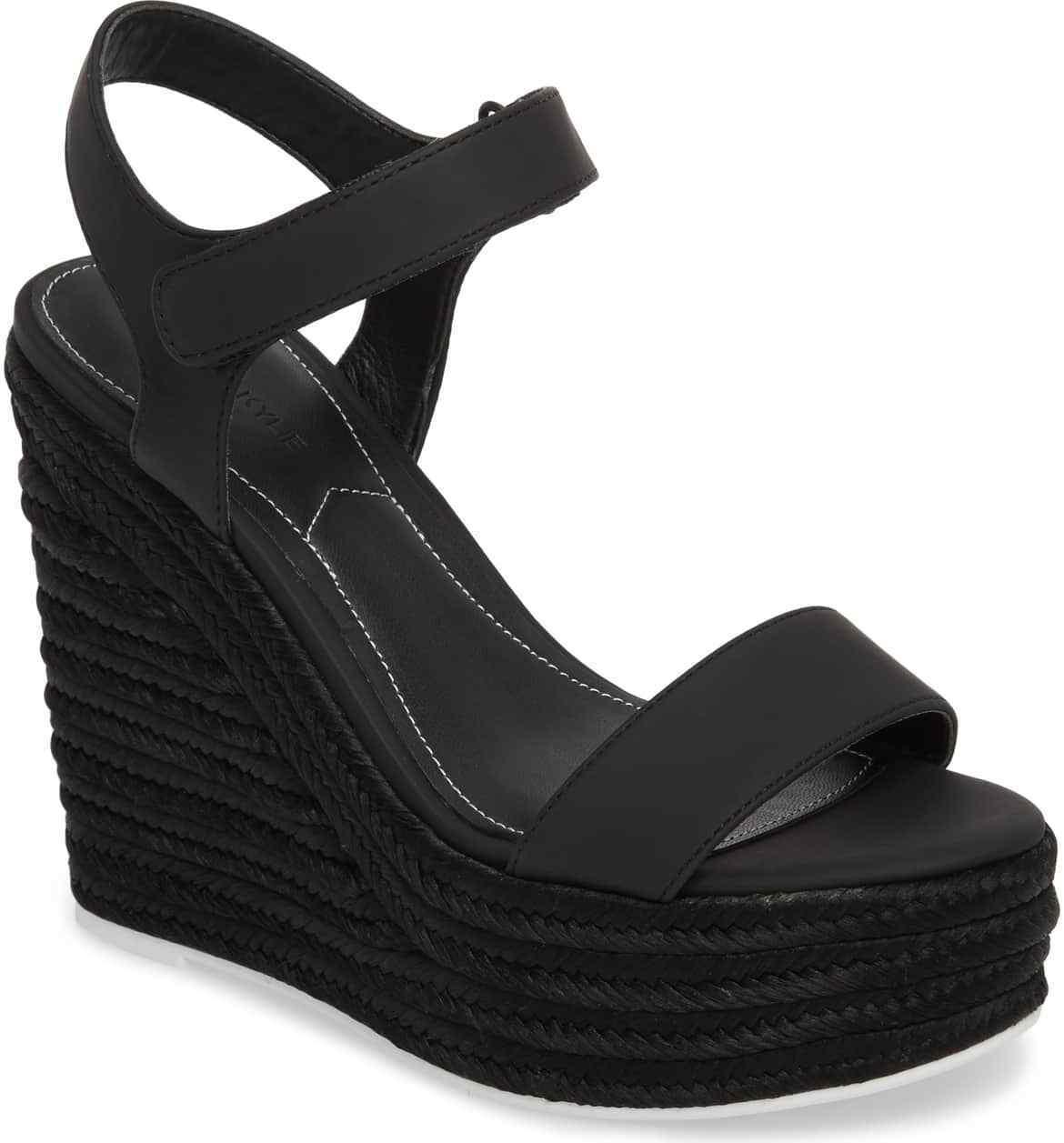 Kendall & Kylie Women's Grand Sport Espadrille Wedge Sandal Size 11 Black