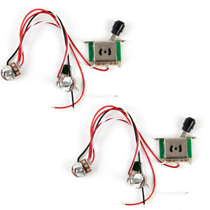 2pcs prewired guitar wiring harness 250k pots 3 way switch for teleimage is loading 2pcs prewired guitar wiring harness 250k pots 3