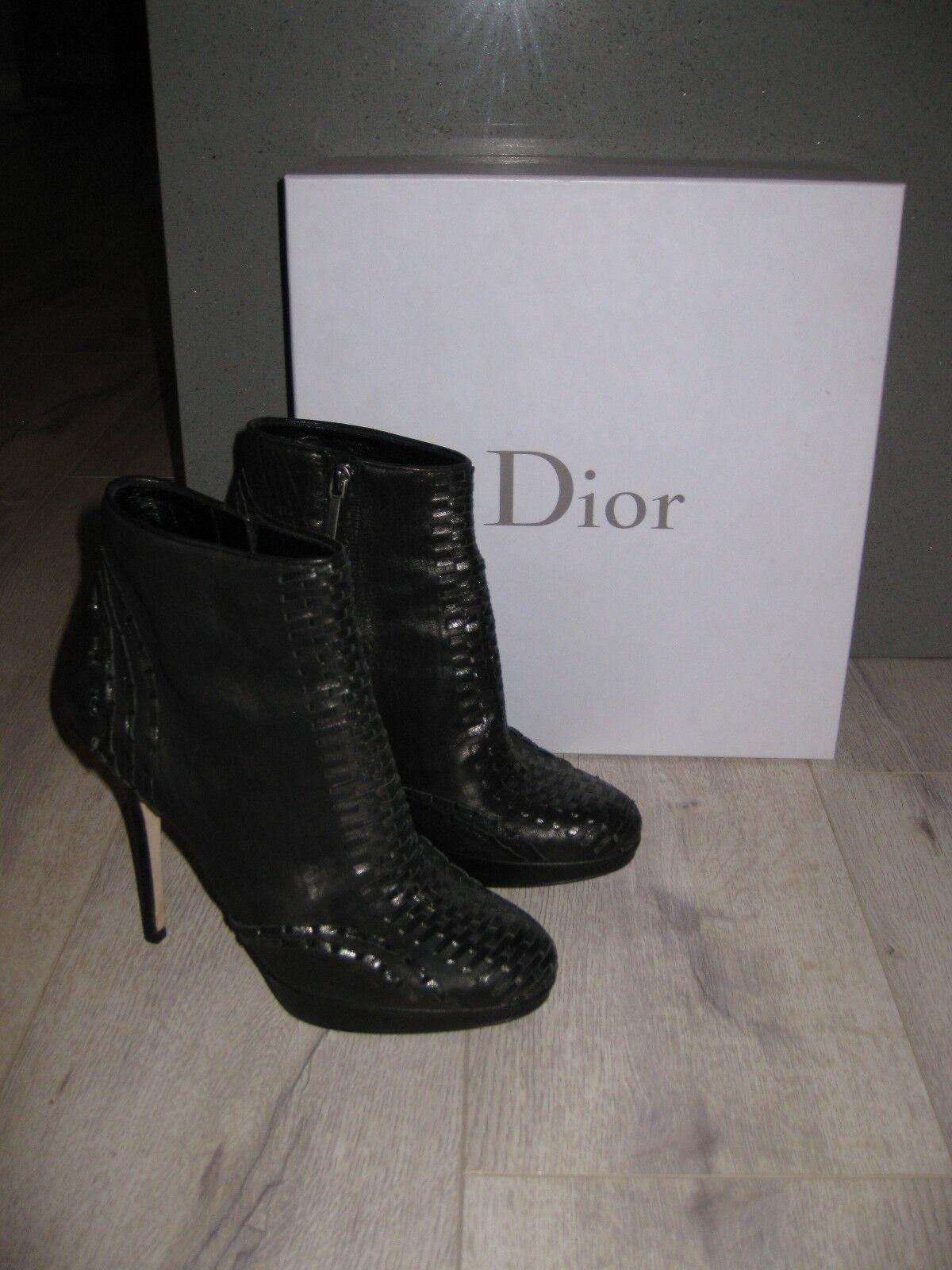 EUC EUC EUC  Gorgeous  Christian Dior Miss Dior Black Leather Platform Booties Boots 9.5 92f745
