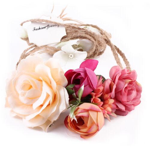 Boho Haarband Blumen Kranz Blüten geflochten Stirnband Festival Party Hochzeit