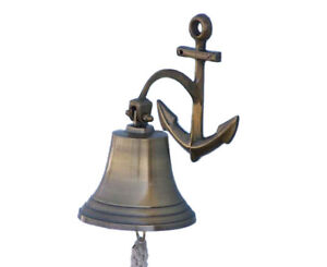 "Antiqued Brass Finish Solid Aluminum Ship Bell 7"" w/ Anchor Bracket Wall Decor"
