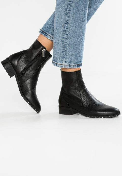 Nuevo TopShop 'Kash' Cuero Negro Botas al tobillo Calcetín