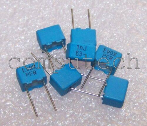 10 pezzi Condensatore Poliestere 1nF 63V 5/% EVOX RIFA serie PFR passo 5mm 1000pF