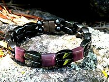 Magnetic Hematite Bracelet Anklet 2 Row Carnelian Red Agate 3 Stone Series
