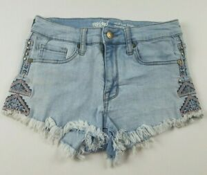 Mossimo-Womens-Jean-Shorts-Sz-2-26-High-Rise-Short-Tribal-Accents-Cut-Off-Denim