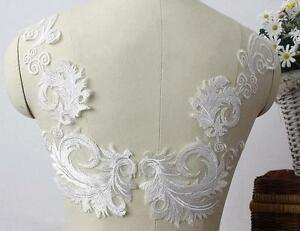 Vintage feather lace applique ivory bridal sew on wedding
