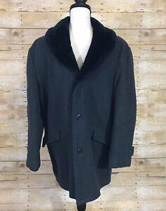 Vintage-Schott-Wool-Coat-Mens-Size-38-Charcoal-Gray-Faux-Fur-Lining-Collar