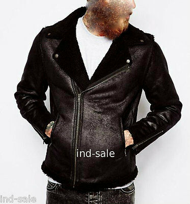 Custom Tailor Made Distressed Thick Leather Jacket Biker Short FUR Cross Zip