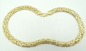 14K-Yellow-Gold-10-6mm-Byzantine-Necklace-18-Inch-55-2-Grams-D6436