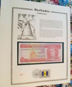 Barbados-Banknote-1-Dollar-1973-P-29-UNC-with-FDI-UN-FDI-FLAG-STAMP-prefix-F