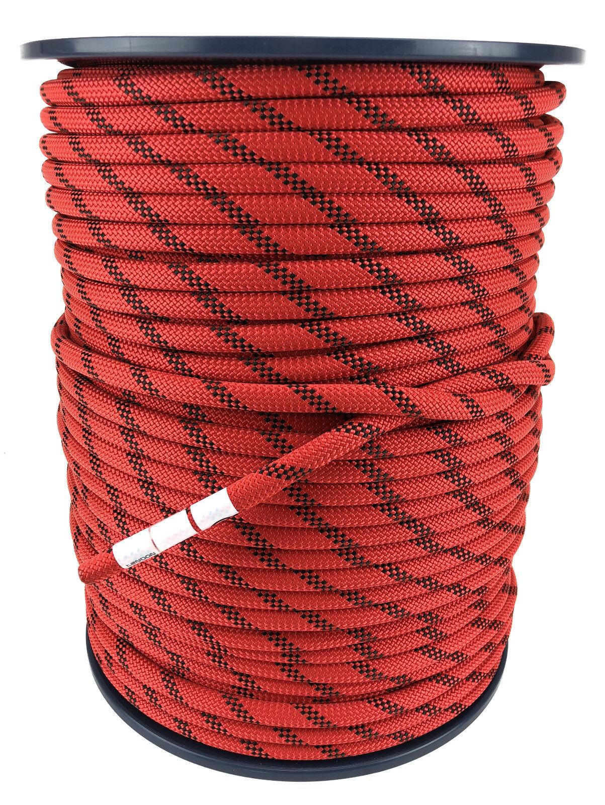 Tendon 10.5 mm rouge avec noir Moucheté Statique Corde X 100 Mètres Moulinet,