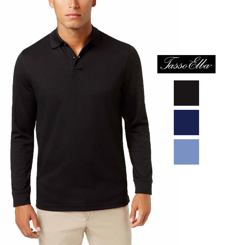 56084ec9a6c Tasso Mens Blend Long-Sleeve Polo Supima® Elba nybaxi1646-T-Shirts ...