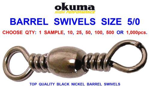 OKUMA BARREL SWIVELS SIZE 5//0 FOR GAME COARSE SEA FISHING LINE BRAID RIG LINK