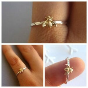 Unique-Gift-Fashion-Charm-Jewelry-Bee-Finger-Ring-Insect-Pattern-Gold-Plated