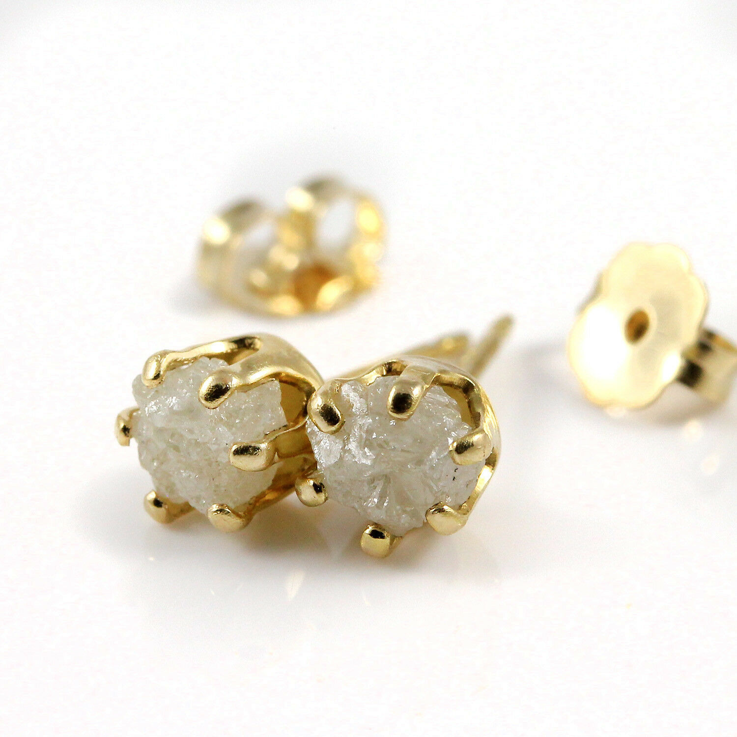 5mm 14K gold Filled Studs Posts - Conflict Free Natural Raw Rough Diamonds White