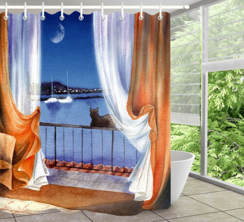 "Moonlight Harbor Balcony Black Cat Shower Curtain Set Waterproof Fabric 72//79/"""
