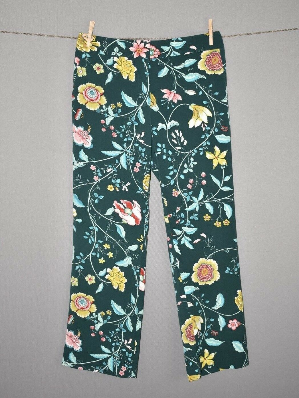 ANN TAYLOR LOFT NEW  80 Deep Green Vine Floral Fluid Trousers Pants Size 6