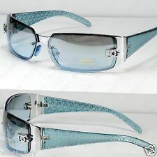 New DG Womens Fashion Designer Sunglasses Shades Rectangular Blue Tint Lens Wrap