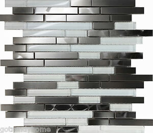 Image Is Loading Sample Stainless Steel Brushed Nickel Swirl Gl Mosaic