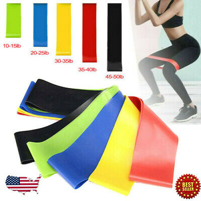 Resistance Bands Exercise Sports Loop Fitness Home Gym Yoga Latex Stretch 5-25LB