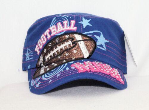 NWT SPORTS LOVERS FOOTBALL MOM DAD CUSTOM BLING CAP ADJUSTABLE BACK COLOR BLUE