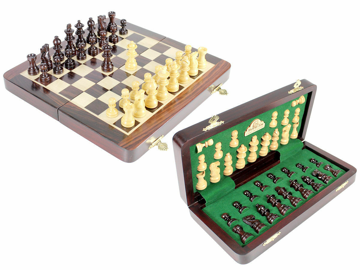10  Chess Set Travel Magnetic Folding Board pink Wood - House of Chess