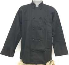 10 Knot Button Chef Coat Jacket Xl Long Sleeve Black New All Star Uniforms