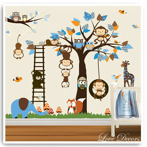 Image Is Loading Monkey Owl Animal Wall Stickers Jungle Zoo Nursery  Part 48