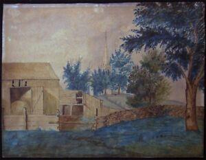 ORIGINAL-19th-CENTURY-AMERICAN-FOLK-ART-PASTORAL-SCENE-INK-amp-WATERCOLOR-NAIVE
