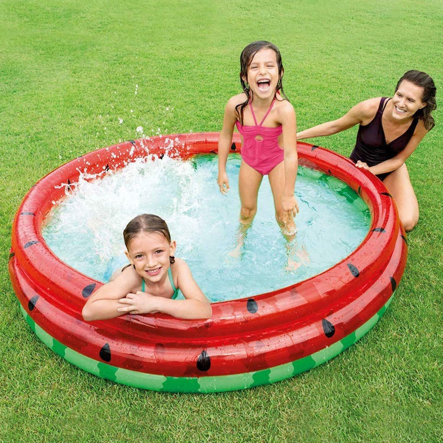 3 Ring Inflatable Kids Round Watermelon Paddling Pool Outdoor 1.68m x 38cm