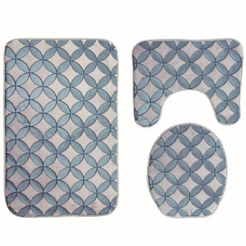 Bathroom Mat Set Non-Slip Toilet Lid Cover Shower Curtain Solid Carpet Bath Rugs
