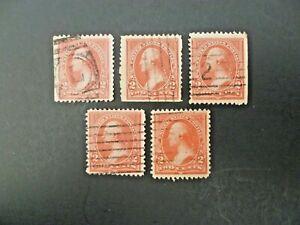 USA Lot of 5 1894 1st Bureau $.02 Washington #250 Used Type I - See Description