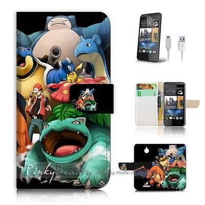 HTC Desire 510 Flip Wallet Case Cover! P0253 Pokemon