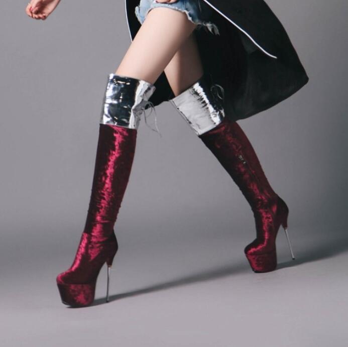 femmes Over Knee bottes Mixed Couleur Platform Stilettos High Heels Pump Side Zip V