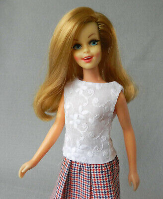 Barbie fashion HANDMADE vintage look blouse peasant embroidered eyelet WHITE v1