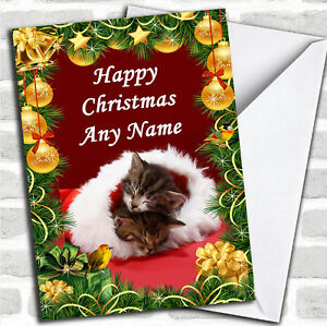 Sleeping-Kittens-Golden-Baubles-Christmas-Customised-Card-Personalized