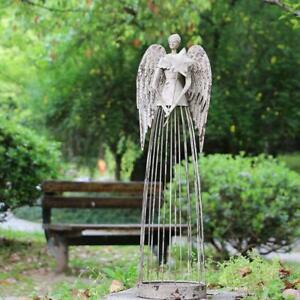 Angel-Garden-Statue-W-Star-Antiqued-Metal-Yard-Art-Decor-Lawn-Patio-Deco-26-034-H